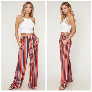 Pants - Striped Colorful wide leg trouser style pant !
